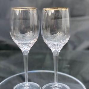 2 Rogaska Miller Memoir Gold Trim Water Goblets